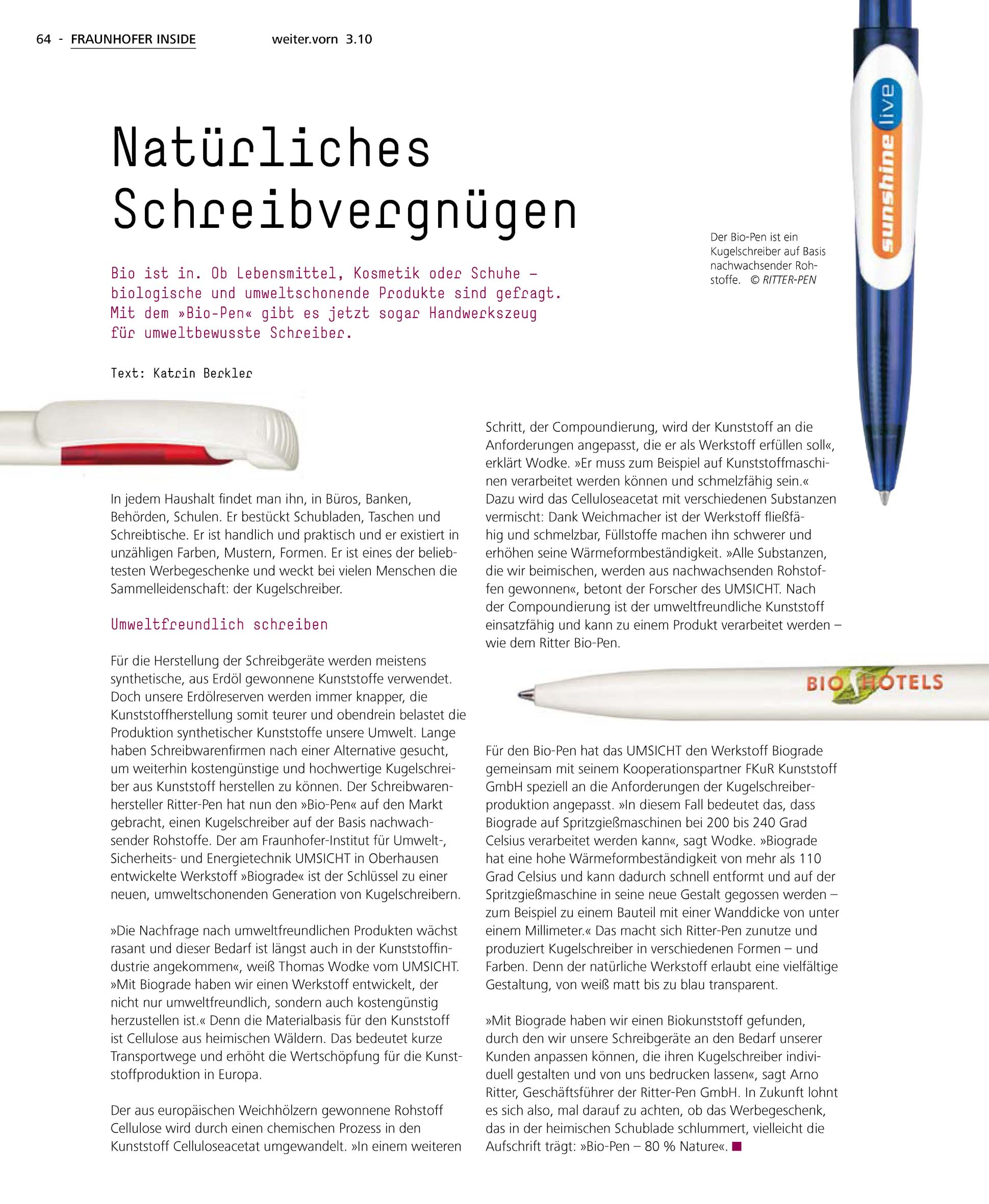 Natürliches Schreibvergnügen Ritter Pen Gmbh